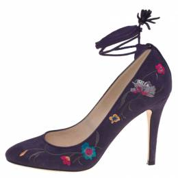 Jimmy Choo Purple Floral Embroidered Suede Chelan Tie Up Pumps Size 40 115089