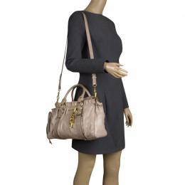 Miu Miu Beige Glazed Leather Luxe Ruched Top Handle Bag 114281