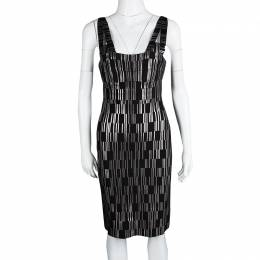 Herve Leger Black Foil Printed Jasmine Bandage Dress M 115690