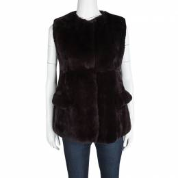 MARNI Brown Rabbit Fur Vest S 115691