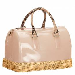 Furla Pink Glossy Rubber/Straw Candy Satchel Bag 106622