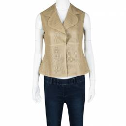 Akris Beige Perforated Lamb Leather Sleeveless Vest M 112054