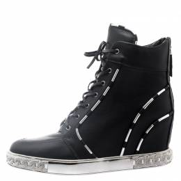 Casadei Black Leather Chain Detail Wedge Sneakers Size 41 111108
