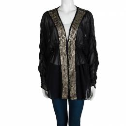 Chloe Black Cotton Voile Embellished Tunic M 101326