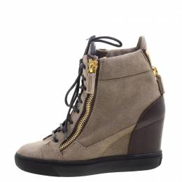 Giuseppe Zanotti Brown Suede and Leather Hidden Wedge Sneakers Size 36 103999