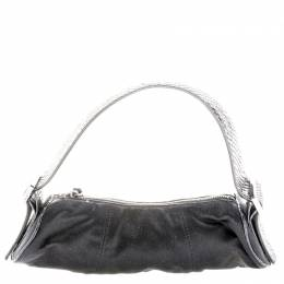 Tod's Black Canvas and Python Pochette Bag 108966