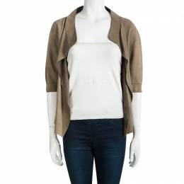 MARNI Brown Open Front Short Sleeve Suede Jacket M 98022