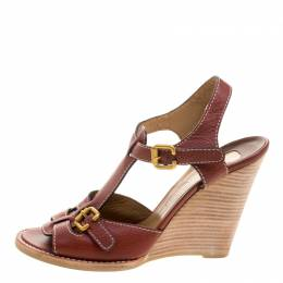 Chloe Brown Leather Wooden Wedge Sandals Size 40.5 113020
