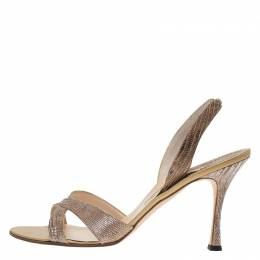 Manolo Blahnik Brown Lizard Emboss Leather Callasli Slingback Sandals Size 40 67039