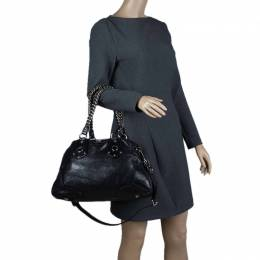 Prada Black Cervo Lux Leather Chain Bowling Bag 67036