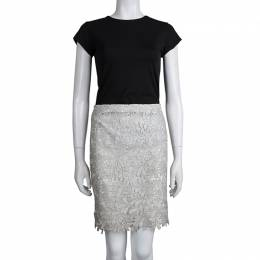 Alice+Olivia Silver Lace Overlay Skirt S