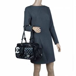 Chanel Black Quilted Leather Ligne Cambon Reporter Bag 67082