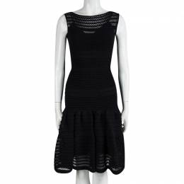 Alaia Black Textured Knit Sleeveless Fit and Flare Dress XS 91631