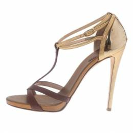 Giuseppe Zanotti Cognac & Gold Leather Metal Plated T-Strap Sandals Size 38.5 28984