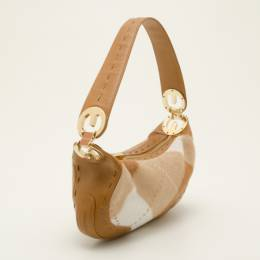 Escada Tan and White Calf Hair Argyle Shoulder Bag 36784
