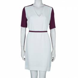 Victoria Victoria Beckham Purple and White Belted Shift Dress S 59836