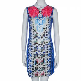 Peter Pilotto Blue Digital Print Neon Sequin Embellished Sleeveless Dress S 59803