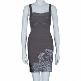 Herve Leger Grey Cross Back PU Sequin Embellished Bandage Dress S 59191
