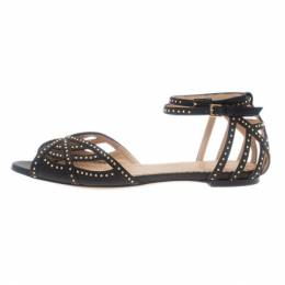 Charlotte Olympia Black Studded Leather Octavia Strappy Sandals Size 35.5 8234