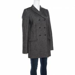 Dolce and Gabbana Monochrome Chevron Pattern Wool and Silk Coat M 161450