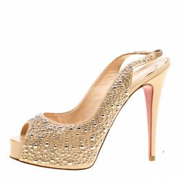 Christian Louboutin Beige Studded Patent Leather Star Prive Peep Toe Slingback Sandals Size 39 163629