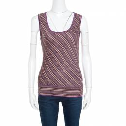M Missoni Purple Lurex Striped Knit Sleeveless Top and Cardigan Set M 165863