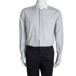 Tom Ford Grey Cotton Contrast Collar Long Sleeve Button Front Shirt XXL