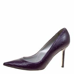 Sergio Rossi Purple Python Embossed Leather Pointed Toe Pumps Size 39 167531