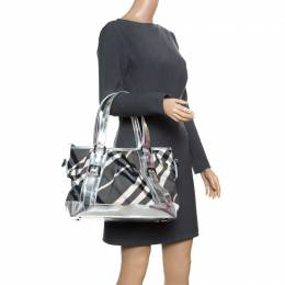 Burberry Silver Beat Check Nylon and Patent Leather Medium Lowry Top Handle Bag 167650