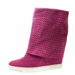 Casadei Pink Perforated Suede Wedge Boots Size 39 168857