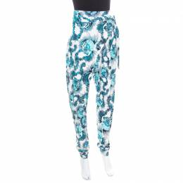 Just Cavalli White and Blue Shell Printed Draped Tie Detail Pants M 170211