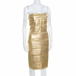 Blumarine Metallic Gold Foil Printed Textured Strapless Bodycon Dress M 169212