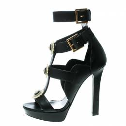 Alexander McQueen	 Black Leather French Gloss Platform Strappy Sandals Size 38.5 170125