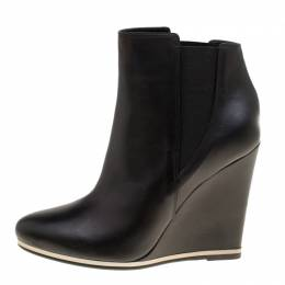 Le Silla Black Leather Wedge Heel Ankle Boots Size 39 169974