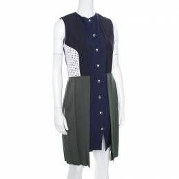J.W. Anderson Colorblock Faux Vest Layered Pleated Sleeveless Dress L 170289