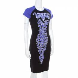 Versace Collection Black and Purple Jacquard Knit Fitted Cap Sleeve Dress M 170300