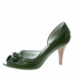 Tod's Olive Green Leather D'orsay Pumps Size 36 Tod's