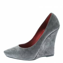 Le Silla Grey Suede Pointed Toe Wedge Pumps Size 36.5 172521