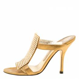 Gold Crystal Embellished Leather Sandals Size 37 174835 Gina