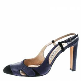Manolo Blahnik Blue Leather and Black Suede Cap Toe Barrie Spectator Slingback Sandals Size 39.5