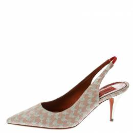 Missoni Peach Patterend Knit Fabric Pointed Toe Slingback Sandals Size 38.5 175046