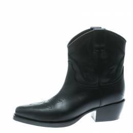 Valentino Black Texan Embroidered Leather Pointed Toe Cowboy Boots Size 36 172512