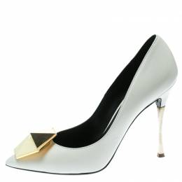 Nicholas Kirkwood White Leather Hexagon Pointed Toe Pumps Size 37.5 176462