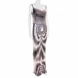 Missoni Pink and Black Patterned Sheer Knit Sleeveless Maxi Dress M 176736