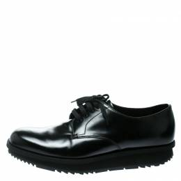 Prada Black Leather Derby Sneakers Size 42 177348