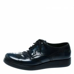 Prada Blue Leather Brogue Derby Sneakers Size 42.5 177404