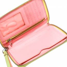 Marc by Marc Jacobs Lime Green/Peach Pink Leather Zip Around Wallet 177940