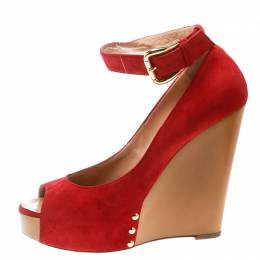 Giuseppe Zanotti Red Suede Leather Peep Toe Wedge Pumps Size 39.5 178204