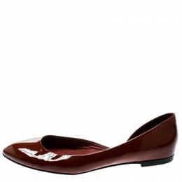 Bottega Veneta Brown Patent Leather D'orsay Ballet Flats Size 38.5 178952