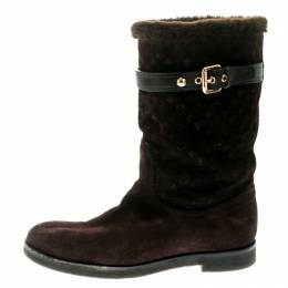 Louis Vuitton Brown Embroidered Suede Knee Length Boots Size 38.5 180163